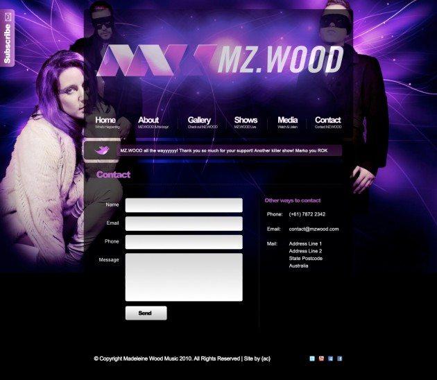 MZWOOD New contact page design