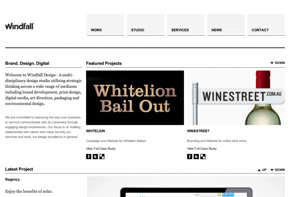 Website preview for Windfall Design